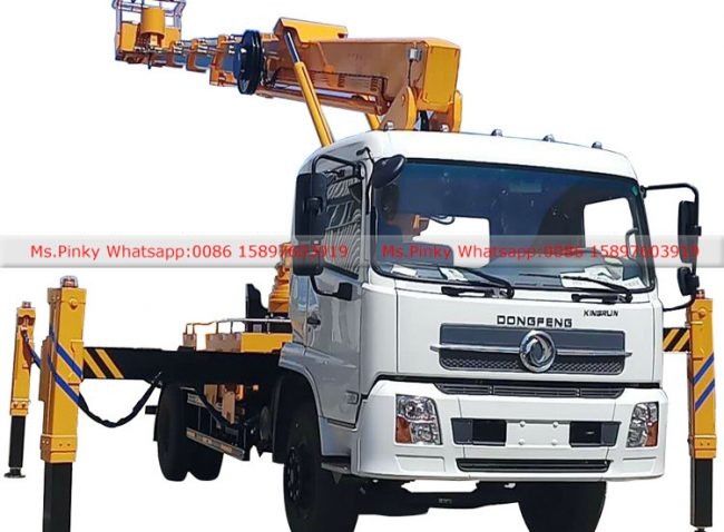 Telescopic boom aerial working truck
